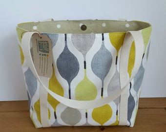 Canvas tote with pocket, Handmade lined fabric shoulder bag, Knitting Project Bag, Large canvas purse,  Green and grey fabric handbag