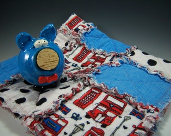 Pigs 'N Blankies | Pottery Piggy Bank and Matching Baby Blanket | Blue  Pottery Piggy Bank | Pottered and Pieced | Baby Shower Gift