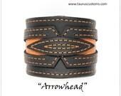 Black Leather Cuff Bracelet, Orange Leather Wristband, Bikers Leather Bracelet, Bikers Cuff, Motorcycle Accessories, Mens Leather Bracelet