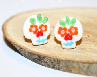 Sugar Skull 💀 Polymer Clay Stud Earrings