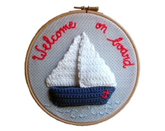 Sailing Boat in embroidery hoop