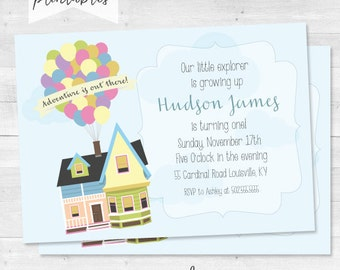 Disney's Up Inspired Birthday Invitation - Our Little explorer is growing up - Adventure is out there