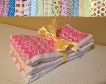 Burp Cloth made from Prefold Cloth Diaper - 22 Different Color and Pattern Choices - Boy and Girl