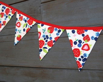 Strawberry Red & Blueberry  Fabric Bunting Pennant Banner for Berry First Birthday, Nursery, Bridal or Baby Shower, Tea Party, Photo Prop