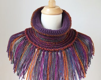 Boho Scarf with Fringe, Purple Neck Warmer, Crochet Cowl Tube Scarf, Colourful Bohemian Shawl, Unique Women's Accessory