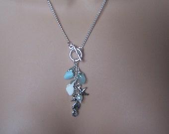 Sea Glass Toggle charm Necklace Milk Glass