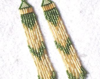 Long seed bead earrings, long fringe earrings, beaded earrrings, boho, hippie, chic, green earrings