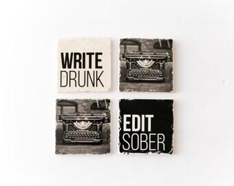 Write Drunk Edit Sober typewriter Ernest Hemingway quote writer gift marble tile coaster set of 4 MADE TO ORDER