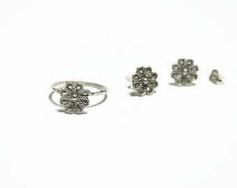 silver flower ring, sterling silver ring, gift for her, set earrings and ring, silver filigree ring, dainty ring, everyday jewelry