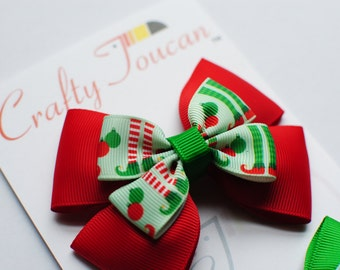 Mix and Match Christmas Elves Hair Bow for Toddlers/girls