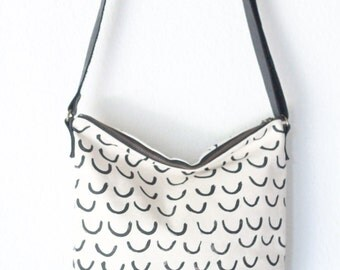 crossbody bag - geometric crescent screen print with leather strap