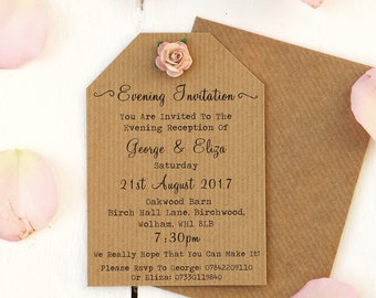 Rustic Rose Small Evening Invitation - Ribbed Kraft, Tag Style, Paper Rose, Vintage
