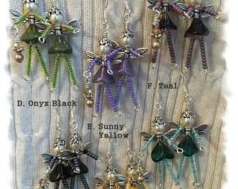 SILVER Beaded Garden FAIRY Angel Earrings, Whimsical Genuine Swarovski Pearl & Faceted Crystal, Czech Pressed Glass Flower OOAK Gift for Mom