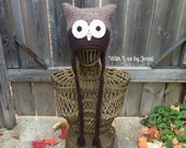 Crochet Womens Brown Owl Hat with ear flaps and long braids *READY TO SHIP*