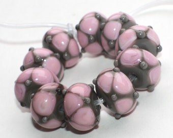 Set of 10 Donut Beads - 10 mm x 15 mm - Gray Pink - Handmade Lampwork Glass Beads