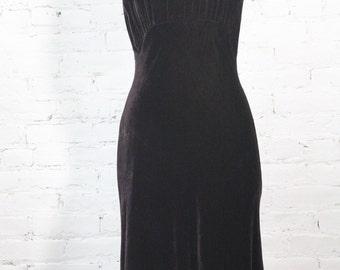 1990s GHOST made in England Dress Velvet deep purple brown bias cut  P S