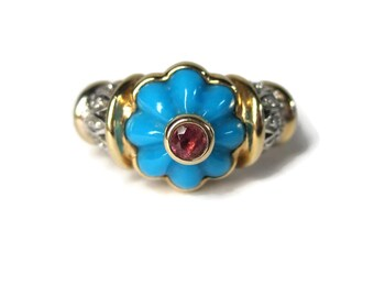 Vintage 14K Carved Turquoise Pink Tourmaline Diamond Ring Size 7