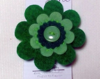 Felt Brooch, Floral Brooch, Green, Brooch, Button Hole, Green Brooch, Felt, Hand Stitched, Daisy, Flower