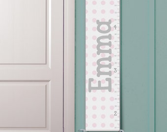 """Personalized Growth Chart - """"Classic White and Pink Polka Dots"""""""