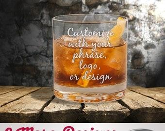 Custom Etched Rocks Glass