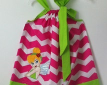 Custom Made Pillowcase Dress-Hot Pink Chevron with Tinkerbelle machine Embroidered appliqué, Lime solid Hem and ribbon. Sizes 2T - 8y/o