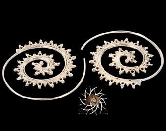 Silver Earrings - Silver Spiral Earrings - Gypsy Earrings - Tribal Earrings - Ethnic Earrings - Indian Earrings - Statement Earrings (ES2)