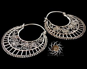 Silver Earrings - Silver Hoops - Gypsy Earrings - Tribal Earrings - Ethnic Earrings - Indian Earrings - Ttibal Hoops - Indian Hoops (ES57)