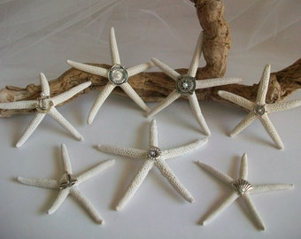 Nautical Theme Embellished Starfish Table Accent Decor, White Starfish Nautical & Pearl Accents for Wedding Bridal Shower Beach Theme Party