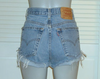 Vintage Levis 550 High Waisted Cut Off Blue Jean FESTIVAL Shorts~16~