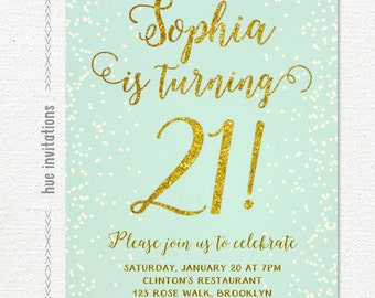 mint 21st birthday invitation for women, blue and gold glitter birthday party invitation, turquoise blue gold 21st invite, printable file 75