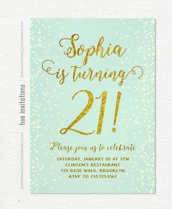 Personalised New Baby Or Birthday Card By Mint Nifty: Mint 21st Birthday Invitation For Women Blue And Gold Glitter