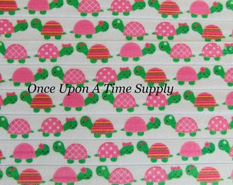 Turtle Print Fold Over Elastic for Baby Headbands - Up to 5 Yards of 5/8 inch FOE - Pink Green Turtles Reptile Printed Elastic By The Yard