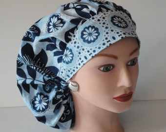 The Perfect Sized Bouffant Scrub Hat...Navy/Lt. Blue/White Floral Print....Surgical Scrub Hat/Cap...OR Scrub Hats