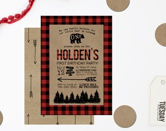 Lumberjack First Birthday Invitation - Bear Wild One First Birthday Invitation - Mountain First Birthday Invitation - Buffalo Plaid Invite