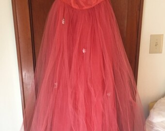 Fred Perlberg apricot prom dance bridesmaid gown dress
