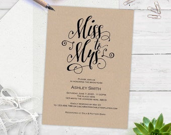 Rustic Bridal shower invitations, Bridal shower invites, instant download, printable, templates, editable text| BS10