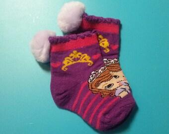 Pom Pom Socks,Cartoon Character -  1 pair - fits babies shoe size 1 to 5