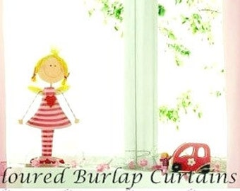 Coloured Burlap Curtains -Coloured Curtains - Bedroom Burlap Panels - Burlap Drapes  - Choose size - 2 panels