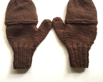 Price Reduced* Knit Brown Fingerless Gloves/Mittens