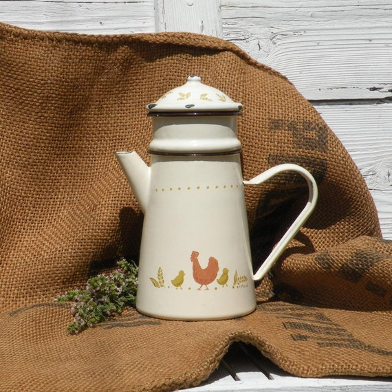 French vintage enamel chicken cafetiere, enamel coffeepot, cottage chic, country home, shabby chic, French coffeepot, vintage coffeepot