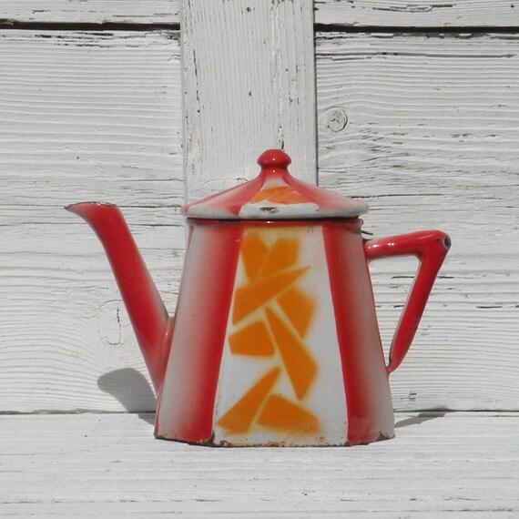 Small French vintage enamelware teapot, art deco teapot, enamel coffeepot, french shabby chic, vintage home decor, enamelware, red orange
