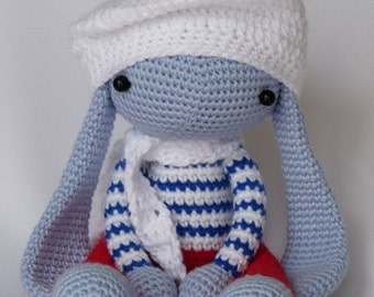 children rabbit toy, amigurumi crochet doll, stuffed toys,eco friendly, present for kids, blue bunny, red