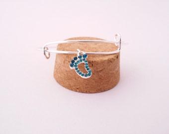 Turquoise footprint rhinestone bangle bracelet
