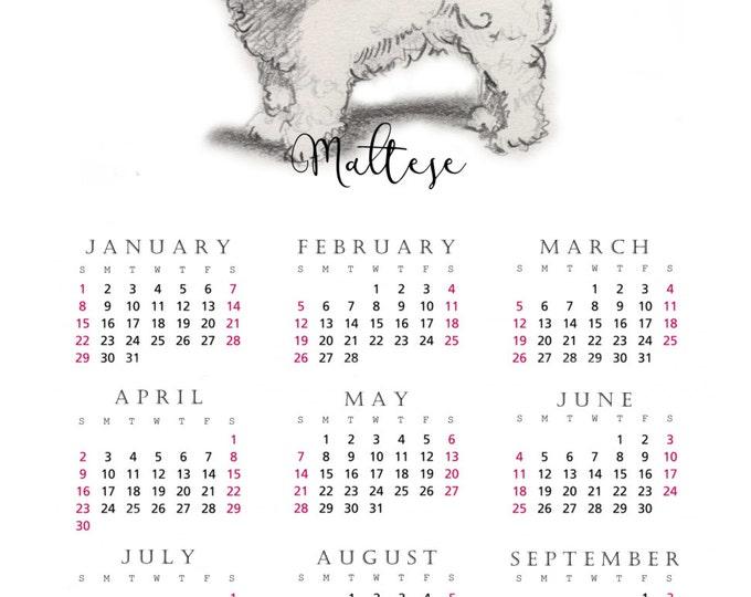 Maltese 2017 yearly calendar