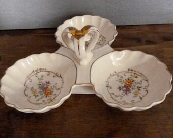 Vintage Ceramic Porcelain Relish Tray - Vintage Candy Dish - Japan Divided Platter