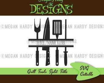 Grill Tools Split Title SVG