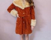 Almost Famous Coat//vintage burnt sienna 70s faux suede fur jacket winter hippy boho mod 1970s//size-see description