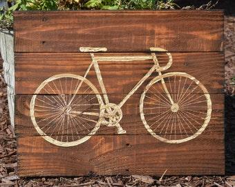 Vintage Race Bicycle Pallet Wood Art Sign Decor