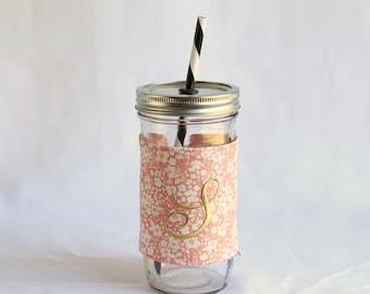 Custom Monogrammed Mason Jar Tumbler | Peach White Floral