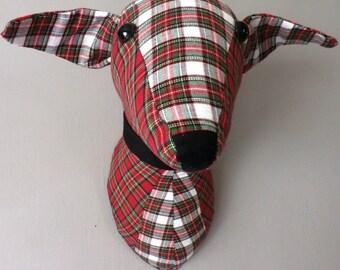 Tartan dog-faux taxidermy-trophy head-fabric sculpture-animal sculpture